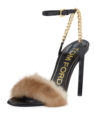 c9e87c5c41f669 TOM FORD Fur-Band Chain-Strap Stiletto Sandals