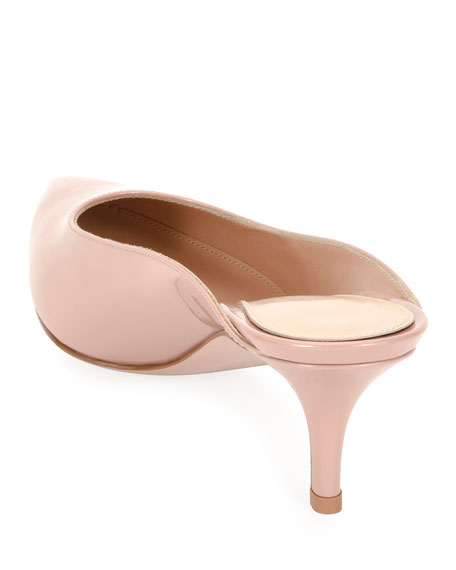 Low-Heel Patent Leather Dip-Vamp Mule