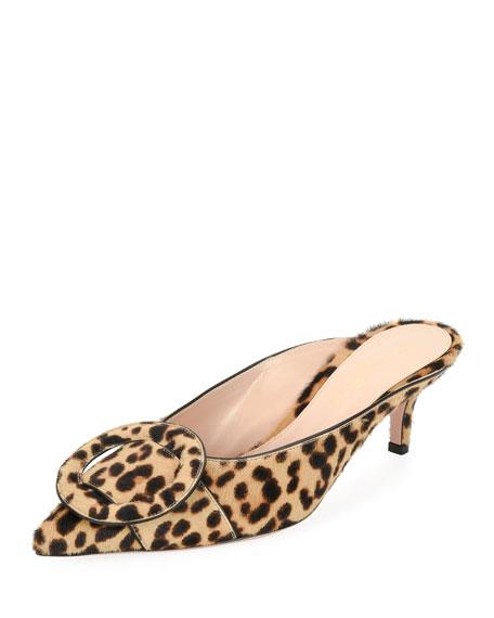 Gianvito Rossi Leopard-Print Calf Hair Mule Slide