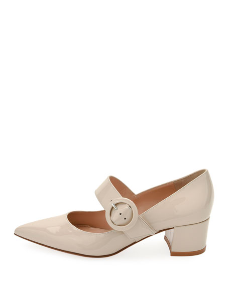 Patent Buckle Mary Jane Pumps
