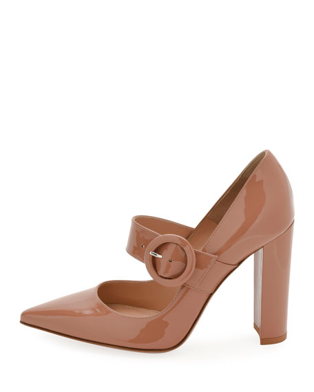 105mm Patent Buckle Mary Jane Pump