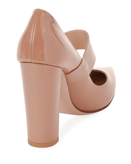 105mm Patent Buckle Mary Jane Pumps