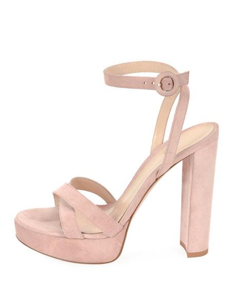 Suede Platform Ankle-Wrap Sandal