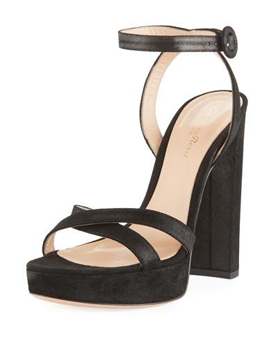 Metallic Fabric Platform Ankle-Wrap Sandal