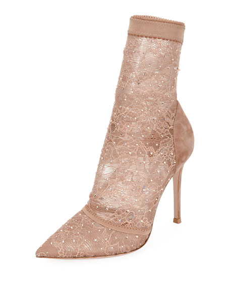 Stretch-Lace and Strass High Booties