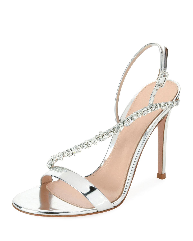 d001160e128 Gianvito Rossi Asymmetric Metallic Strass Sandal
