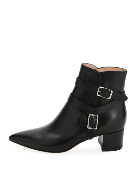 Roni Buckle Leather Booties