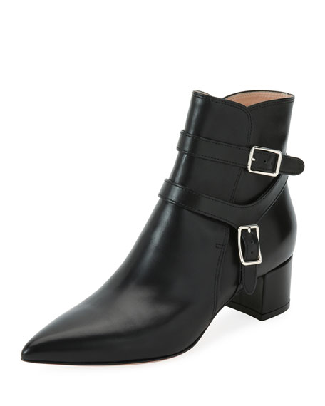 Gianvito Rossi Leather Bootie with Belt Detail