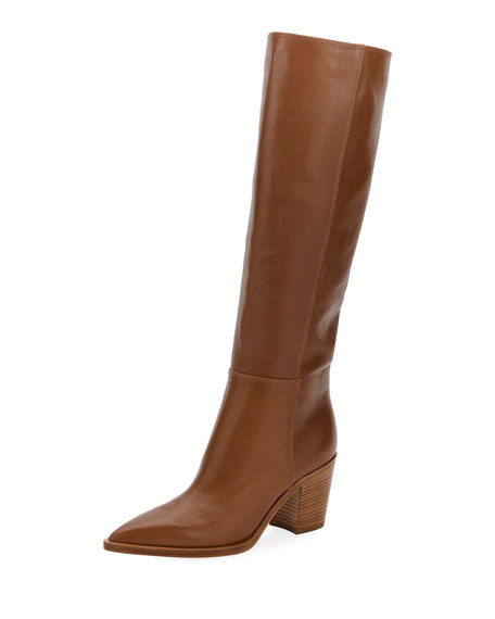 Leather Knee Boots - Brown Size 12
