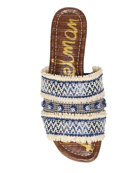 Brandon Embroidered Flat Slide Sandal
