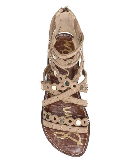 Geren Flat Caged Suede Sandal
