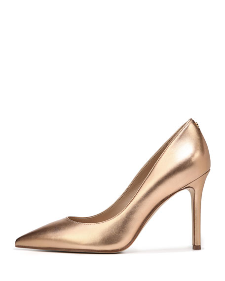 Hazel Soft Metallic Leather Pointed-Toe Pump