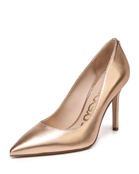 Hazel Soft Metallic Leather Pointed-Toe Pump