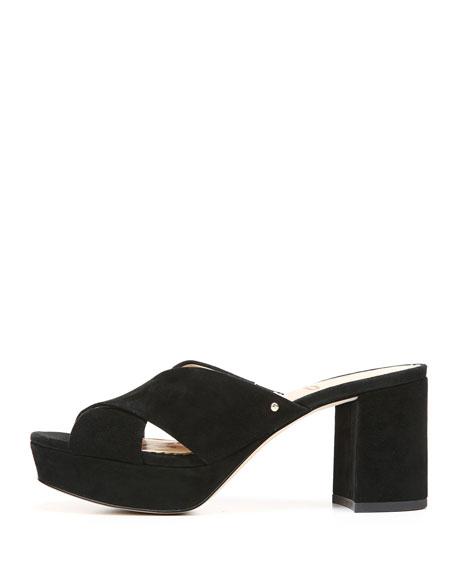 Jayne Diva Suede Chunky-Heel Slide Sandal