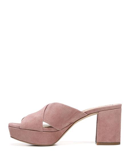 Jayne Kid Suede Chunky-Heel Slide Sandal