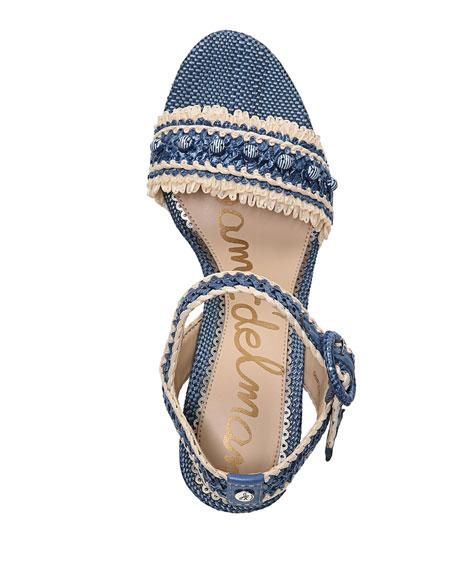 Olisa Raffia Block-Heel Sandal