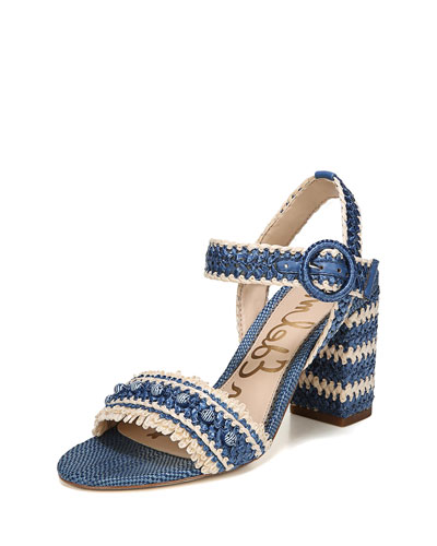 Olsa Embroidered Chunky-Heel Sandal