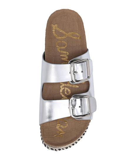 Oakley Foiled Metallic Platform Espadrille Slide Sandal