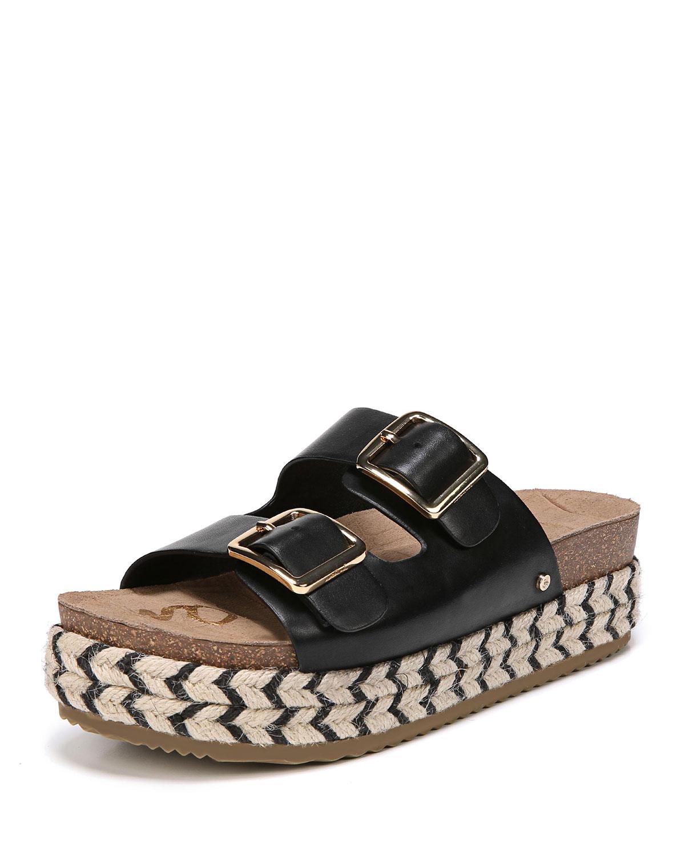 462d235f5bba Sam Edelman Oakley Leather Platform Espadrille Slide Sandal