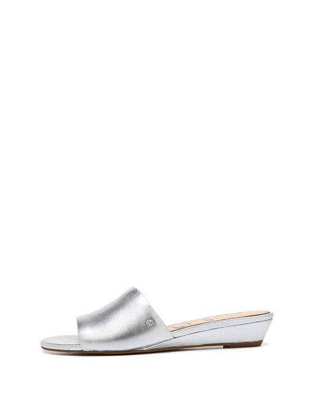 Liliana Metallic Leather Demi-Wedge Slide Sandal