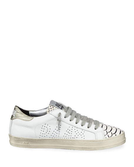 John Mixed Leather Low-Top Sneakers, Platinum