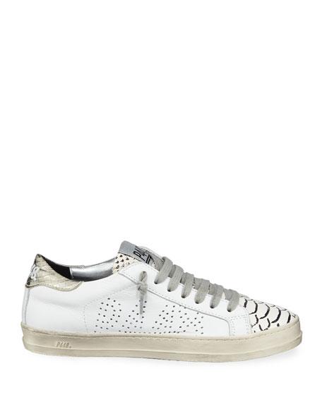 John Mixed Leather Low-Top Sneaker, Platinum