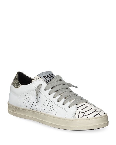 P448 John Mixed Leather Low-Top Sneakers, Platinum
