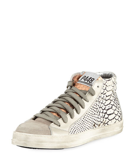P448 Skate Python-Embossed High-Top Sneakers