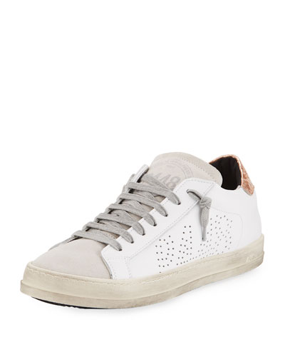 John Mixed Leather Low-Top Sneakers, White/Copper