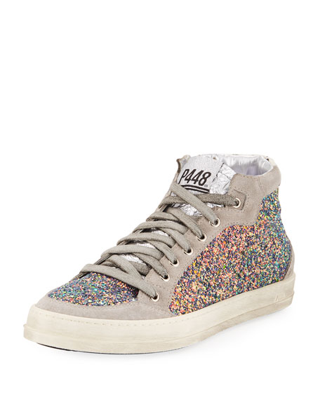 P448 Love Glittered High-Top Sneakers