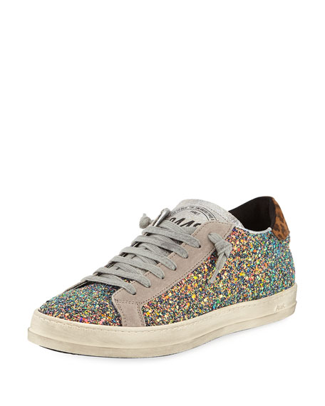 P448 John Glitter Platform Low-Top Sneakers