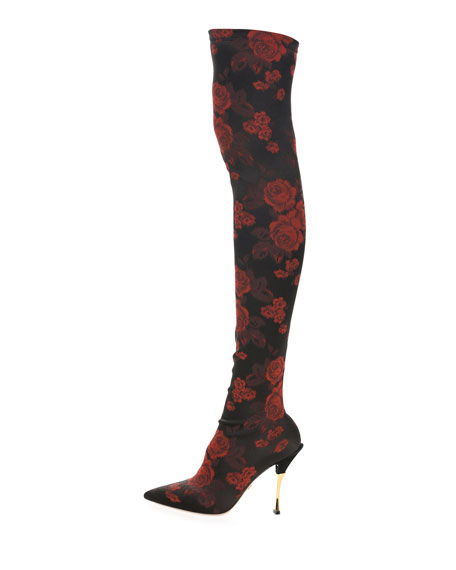 Rose-Jacquard Over-The-Knee Boot
