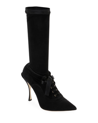 Stretch Lace-Up Mid-Calf Sock Boot