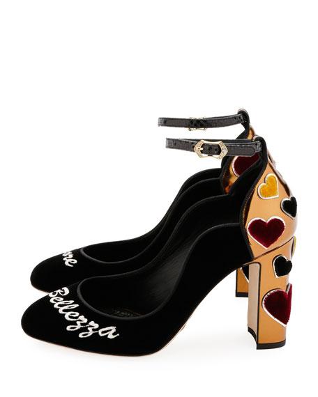 Amore Bellezza Velvet Ankle-Wrap Pumps