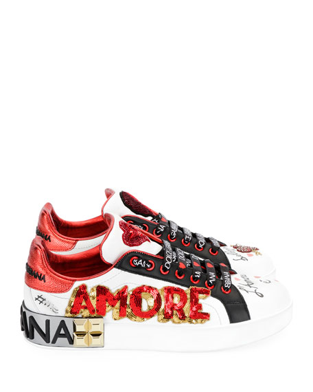 Leather Low-Top Sneakers with Graffiti Hearts