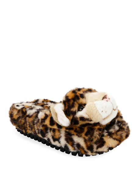 Leopard-Print Faux-Fur Slide Slipper Sandal
