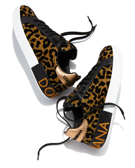 Metallic Leopard-Print Low-Top Sneakers