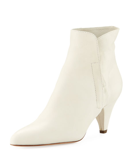 LAURENCE DACADE Stella Kitten-Heel Leather Booties in White