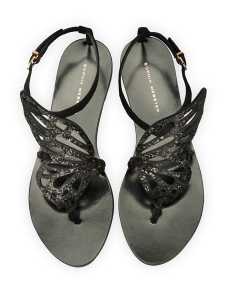 Bibi Butterfly Flat Sandal, Black by Sophia Webster