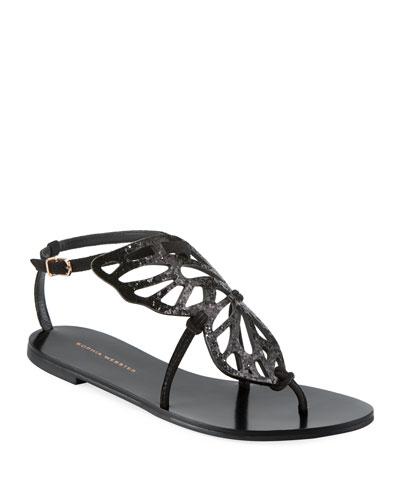 Bibi Butterfly Flat Sandal, Black