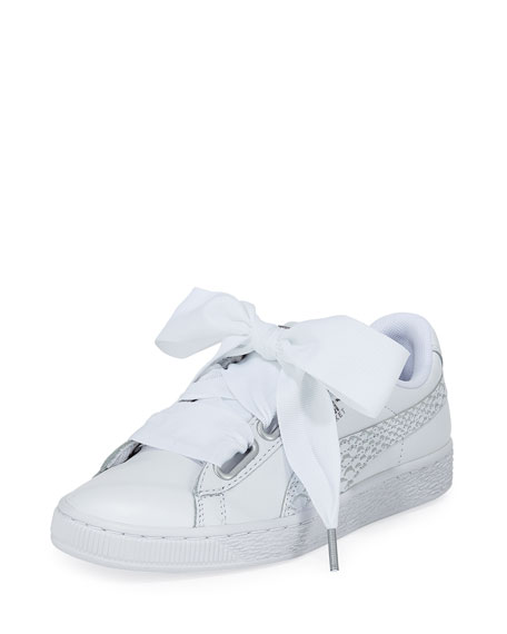 Puma Basket Heart Oceanaire Ribbon-Laced Sneakers