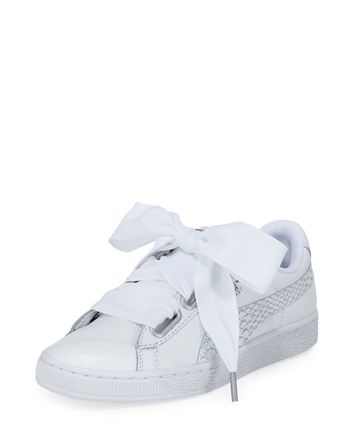 f1cf80658ef Puma Basket Heart Oceanaire Ribbon-Laced Sneakers