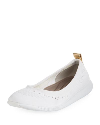 ZeroGrand Stitchlite™ Mesh Ballerina Flat, White