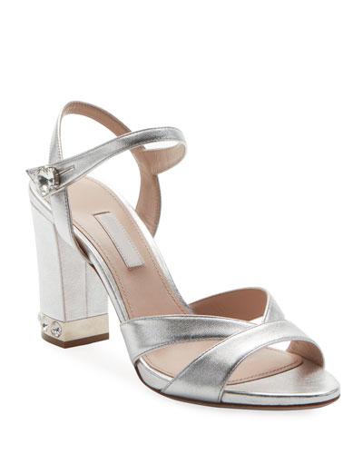Metallic Leather 85mm Sandal