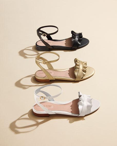 Vesta Ruffle Metallic Leather Flat Sandal