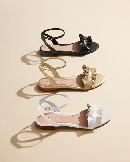 Vesta Ruffle Leather Flat Sandal