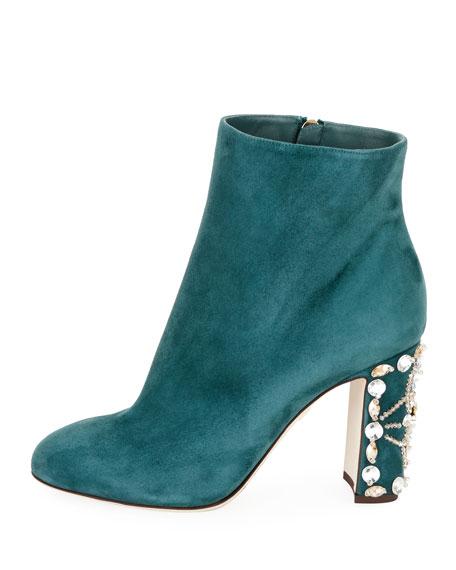 Suede Booties with Jeweled Block Heel