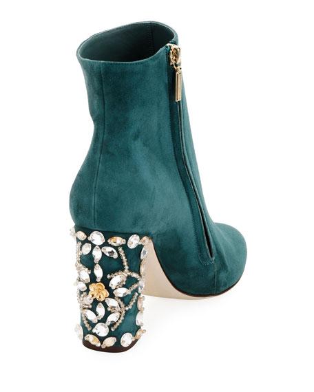 Suede Bootie with Jeweled Block Heel