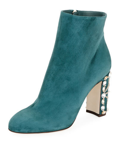 Suede Bootie with Jeweled Block Heel