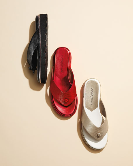 Lenore Lizard-Embossed Comfort Sandal